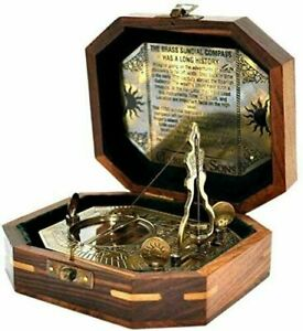 Antique-vintage-brass-4-034-sundial-pendulum-antique-finish-with-wooden-box-gift