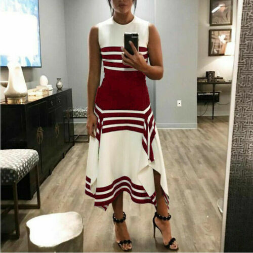 White and Black Women Sleeveless Bodycon Fit/&Flare Cocktail Party Long Dress