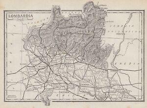 Cartina Economica Lombardia.C2718 Lombardia Carta Geografica D Epoca 1936 Vintage Map Ebay