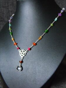 925-STERLING-SILVER-NECKLACE-MULTI-gemstone-PENTACLE-tanzanite-diopside-ruby