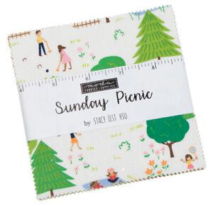 Moda-Sunday-Picnic-5-034-Charm-Pack-Fabric-Quilting-Squares-20670PP-SQ45-SQ54