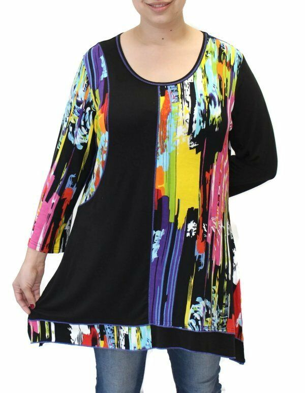 Tamar Fashions  Riki Vent Hem Tunic Top  Blouse NWT  Größe Medium
