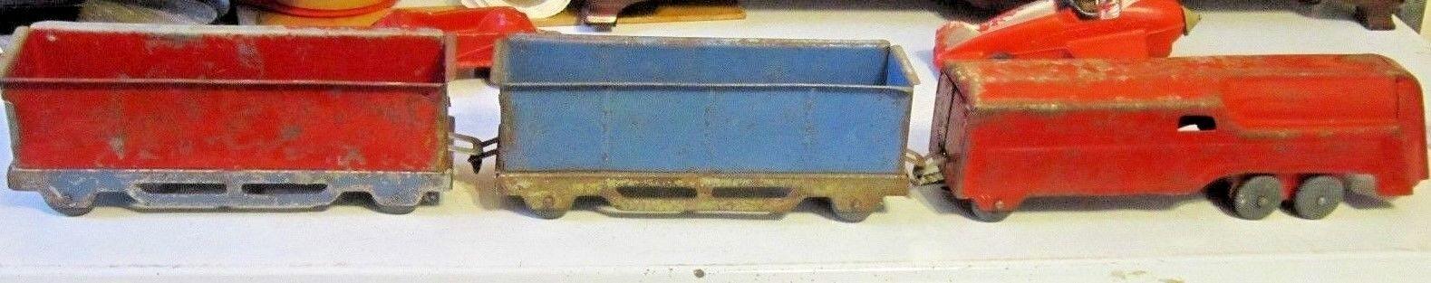 Antique Wyandotte Toys Pressed Steel Train Engine & 2 Rail Cars w/Wooden Wheels