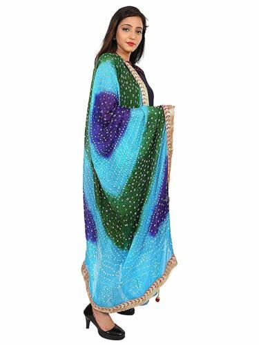 Dupatta Jaipuri Silk Bandhani Bandhej Women Multi Colored Heavy Gota Stole