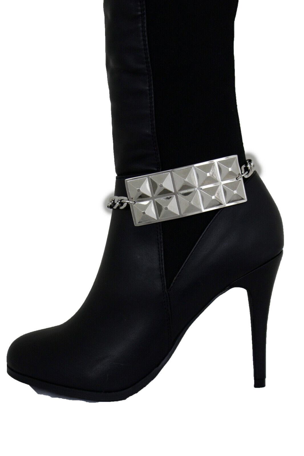 Women Silver Metal Chain Boot Bracelet Biker Shoe Studs Plate Charm Jewelry Rock