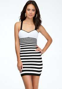 New-Bebe-Womens-Seamless-Stretchy-Padded-Stripe-Bodycon-Mini-Black-Dress-S-L-69