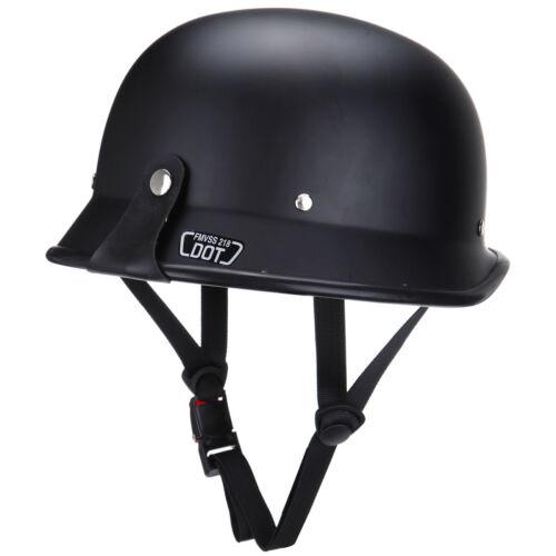 Matte Black DOT Adult German Motorcycle Safety Half Face Crash Helmet Cruiser XL