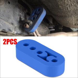 Car Rubber Exhaust Tail Tip Mount Bracket Hanger Insulator 4 Hole Universal Blue
