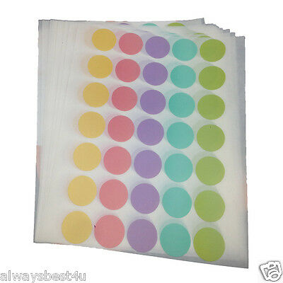 20 MM MIXED 5 PASTEL COLOURS ROUND CIRCLE STICKERS 350 PCS FOR MULTIPURPOSES DIY