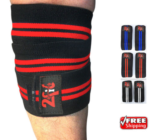 2Fit Knee Wraps Weight Ligting Body Building Gym Training Leg Support RED &BLACK
