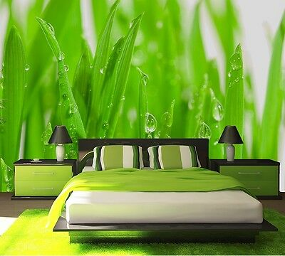 Wall mural wallpaper for bedroom & living room - Green summer meadow 72x100 inch