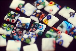 Bulk-50pcs-Flat-Square-Glass-White-Millefiori-Beads-Spacer-Craft-Findings-12mm