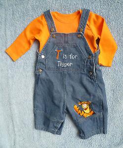 Winnie the Pooh Baby Boys Dungarees Orange Blue M