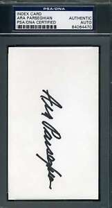 Ara Parseghian Psa Dna Coa Autograph 3x5 Index Card Hand Signed Authentic