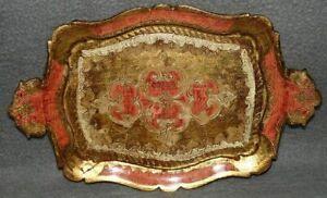 Shabby Chic florentiner Tablett 60er 70er Jahre Rot Gold Deko 2 Landhaus Stil