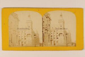 Parigi Orologio Palais Da Justice Francia Foto Stereo Vintage Albumina c1870