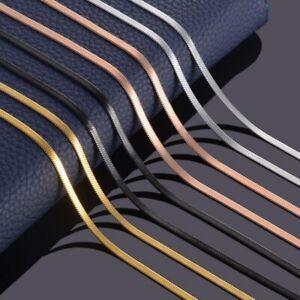Damen-Edelstahl-Schlangenkette-flach-Kette-Halskette-Silber-Gold-Rose-Schwarz