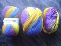 Lot 2+ Skeins Elegant Yarns Kaleidoscope 100% Wool Yarn Purple Yellow Blue 100g