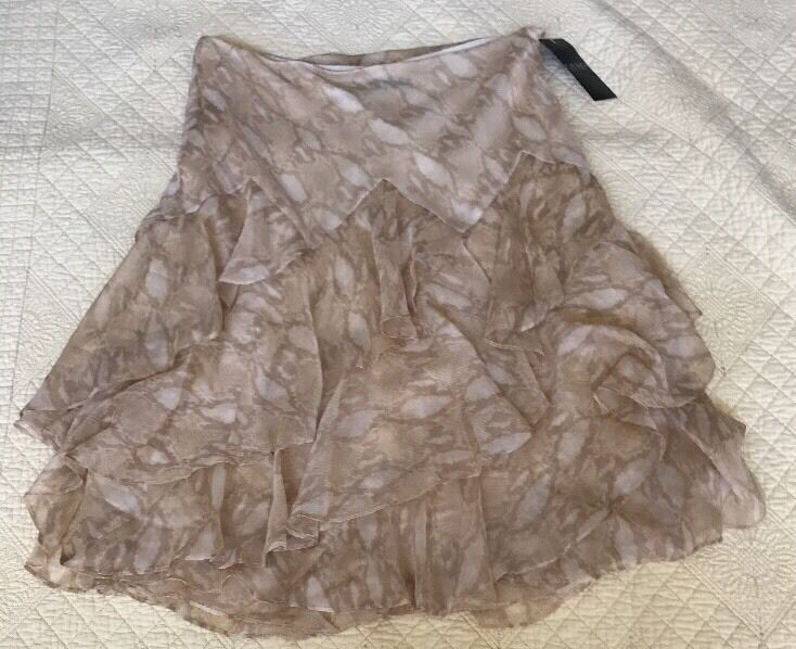 Lauren Ralph Lauren Tan Animal Print Ruffled Skirt Women 10 NWT