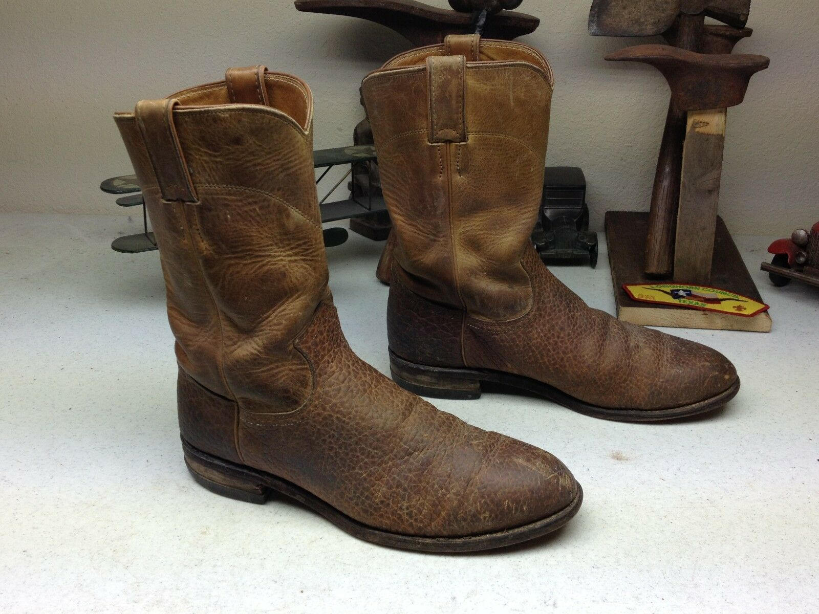 VINTAGE DISTRESSED MADE IN USA WORK JUSTIN BROWN LEATHER ENGINEER WORK USA BOOTS 8.5D b8c636