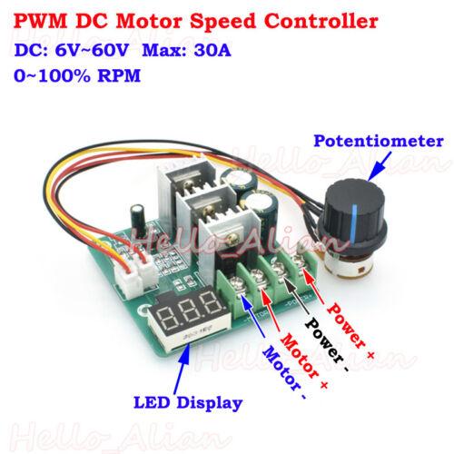 DC 6-60V 12V 24V 36V 48V 30A PWM DC Motor Speed Controller Switch LED Display
