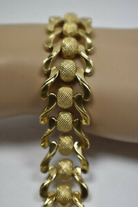 Stunning-Heavy-23g-Fancy-Vintage-3-4-034-Wide-18K-Yellow-Gold-Estate-Bracelet-7-5-034