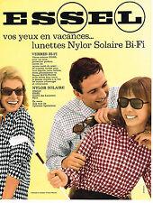 PUBLICITE ADVERTISING 014   1964    ESSEL  lunettes NYLOR  solaire bi-fi