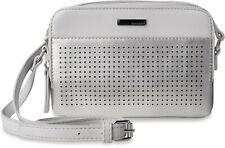 kleine Schultertasche Monnari Damentasche bunte Streifen und Fransen grau