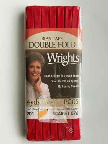 """DOUBLE Fold Bias Tape 1//4/"""" Wrights Talon Coats 4 yds NEW NAVY PINK GREEN RED"""