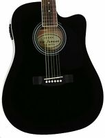 Full Size Thinline Black Acoustic Electric Guitar with Free Gig Bag Case & Picks