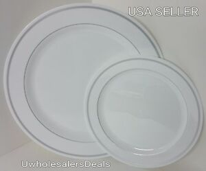 Image is loading Reflective-Premium-40-ct-Plastic-Plates-Heavyweight-China- & Reflective Premium 40 ct Plastic Plates Heavyweight China-Look ...