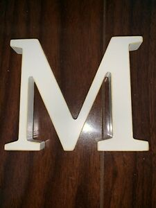 Pottery Barn Wood Wall Letter M New In Packaging White 4