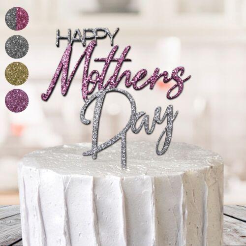 Happy Mothers Day Cake Topper Mum Maman Occasion Spéciale paillettes MDF cadeau d/'anniversaire