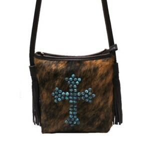 Raviani-Crossbody-Bag-In-Brown-Hair-on-Leather-W-Turquoise-Cross-Studs