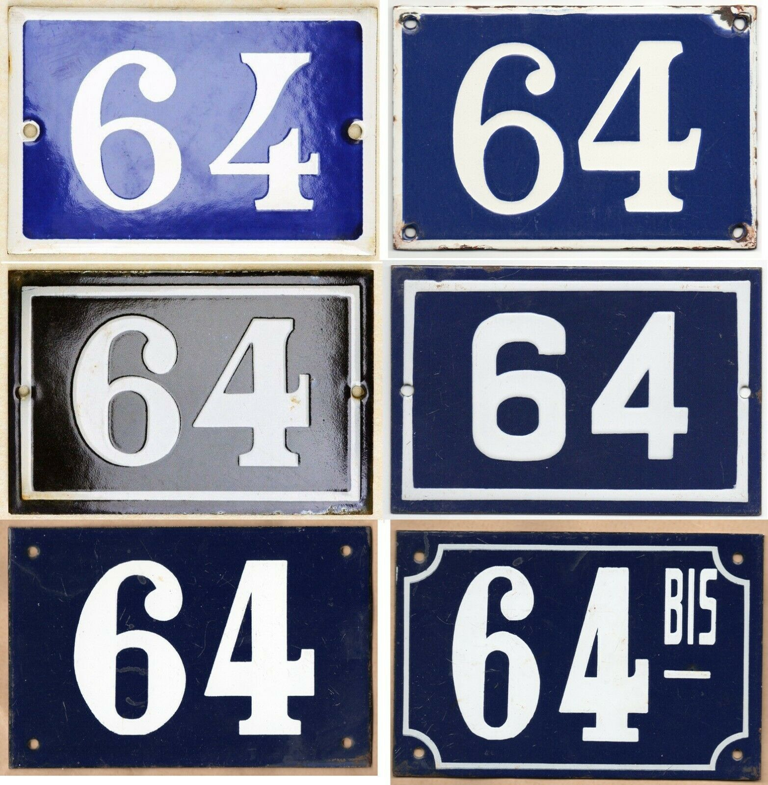 Old Blau French house number 64 door gate wall fence street sign plate plaque