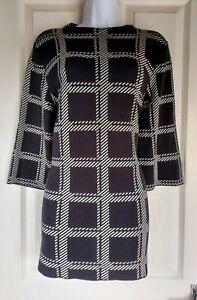 Femme-Matalan-long-pull-taille-M-noir-blanc-carreaux-hiver-Casual-Comfy