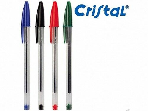 1 MM IN BLACK//BLUE//RED//GREEN BIC CRISTAL PENS PACKS OF 10 from £2.25 FREE P/&P