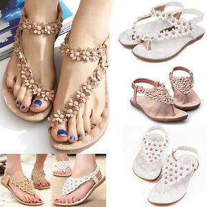 ff851967eb3fd New Women Boho Clip Toe Sandals Casual Fancy Summer Flats Beach Flip ...