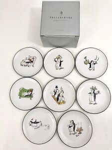 8 Piece Set Pottery Barn Penguins Ceramic Coasters Made In