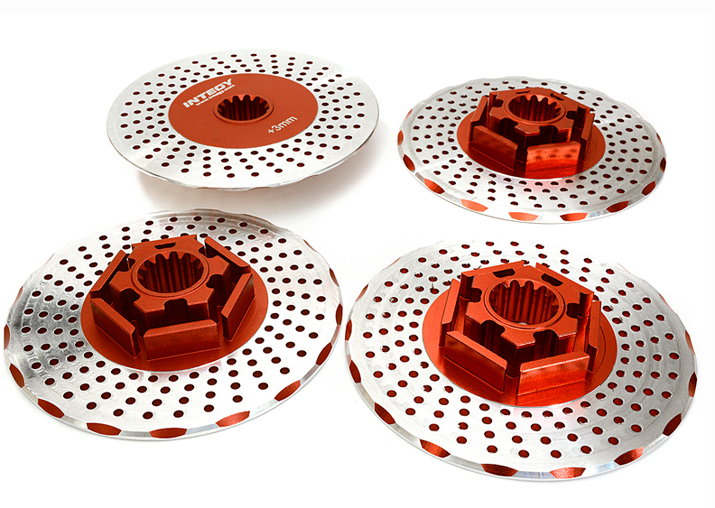 Integy Integy Integy Realistic Alloy Brake Disc Set for Traxxas X-Maxx 4X4 24mm Hex Red 839a72