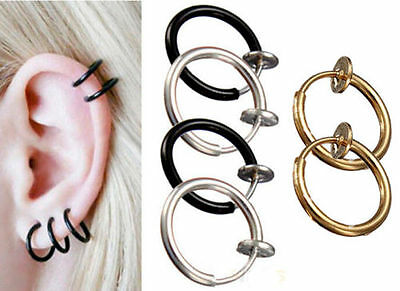 2pcs Fake Nose Lips Ring Spring Clip Hoop Earring Unisex Punk Piercing Septum