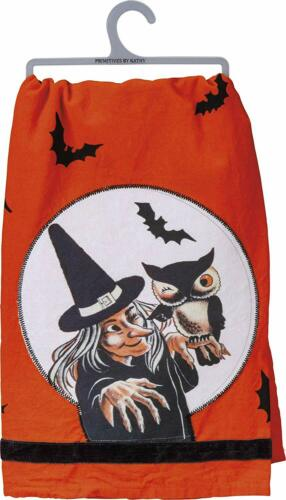 Primitives By Kathy Retro Inspired Halloween Witch Dish Towel ~ Free shipping