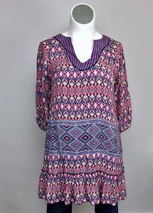 ba84645c1ed5f Tolani L XL Pink Orange Blue Silk Ikat Blouse Tunic Top Shirt Dress ...