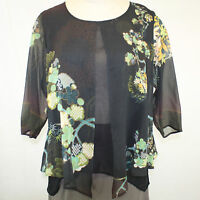 Citron Clothing Plus Size Bamboo Floral 100% Silk Layered Fly Blouse 1x
