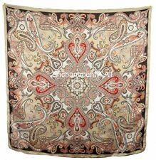 "Luxurious Handmade 35""x35"" Paisley Design 100% Silk Twill Scarf Wrap Brown/Beige"