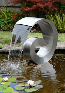 Image Is Loading Silver Ammonite Water Feature Fountain Waterfall  Contemporary Steel