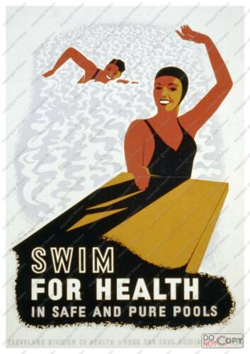 Old Poster reproduction Swim for health