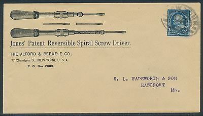 """VF+ ADVT COVER """"JONES' PATENT SPIRAL SCREW DRIVER"""" WITH NY CANCEL BR3820 HSAM"""