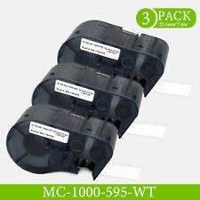 3pk Compatible Mc 1000 595 Wt Bk Black On White Label Cartridge For Bmp51