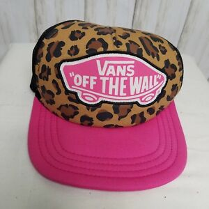 Vans Off The Wall Women s Leopard Pink Black Snapback Trucker Hat ... 2a8b339aae5